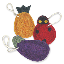 Eggplant, Ladybug and Pineapple Kitchen Loofahs