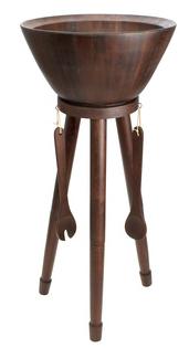 Dark Acacia-Wood Salad Bowl with Stand Set