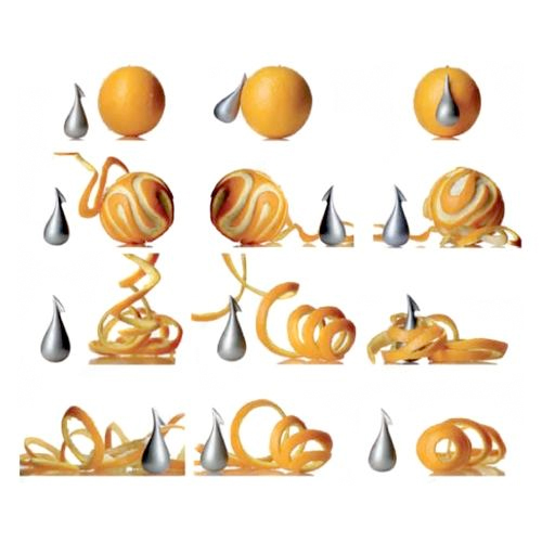 Peeled oranges, with the Apostrophe Orange Peeler by Gabriele Chiave for Alessi