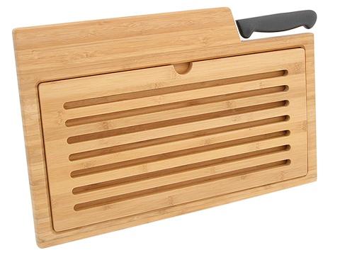 Swissmar Bamboo Crumb Catching Board w/Bread Knife Full View