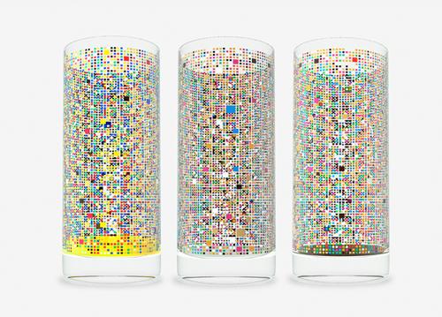 Cipher Drinking Glass, designed by Damjan Stanković, shown empty.