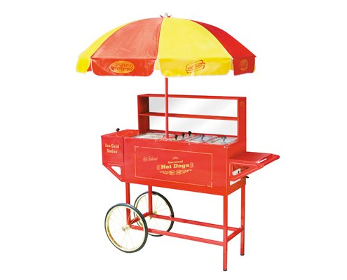 Nostalgia Electrics Vintage Collection Carnival Hot Dog Cart with Umbrella