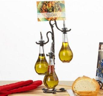 Vintage Chic Vinegar and Oil Dispenser w/ Pour Spouts & Metal Stand