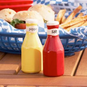 'Mustard & Ketchup' Ceramic Shaker Set