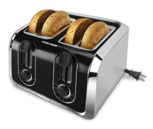 Black & Decker TR1400SB 4-Slice Stainless Steel Toaster with Retractable Cord, Stainless Steel