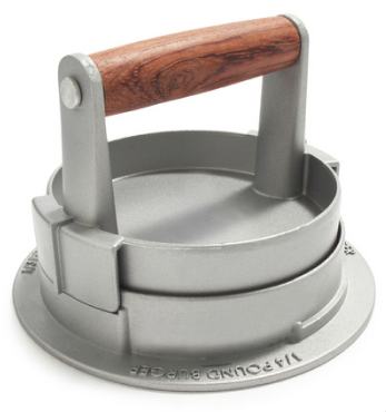 Adjustable Burger Press constructed of nonstick cast aluminum with a rosewood handle.