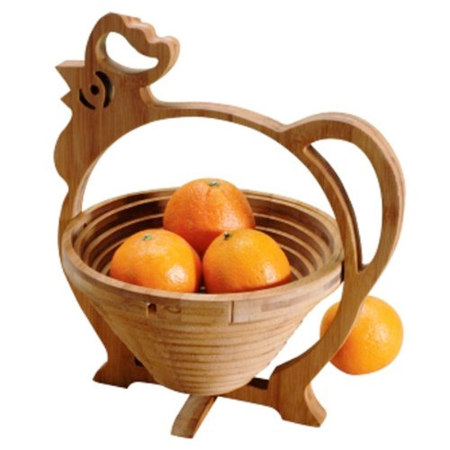 Danesco Natural Living Bamboo Rooster Collapsible Fruit Basket