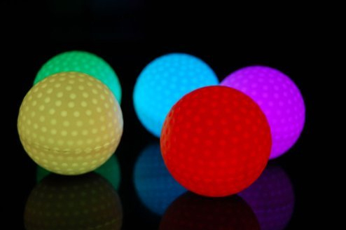 Set of 4 Litecubes RAINBOW Light up LED Golf Balls by DirectGlow LLC