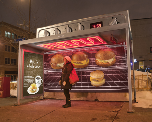 Colle + McVoy advertising campaign for Caribou Coffee transforms a bus stop into a toaster oven.
