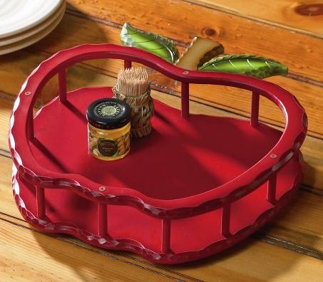 Apple Shaped Wooden Lazy Susan W/ Guardrail by Collections Etc
