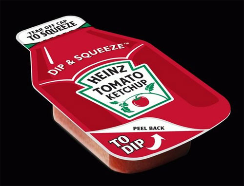 Innovative dual-function ketchup packet from Heinz.