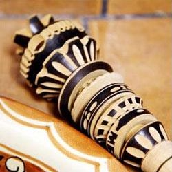 Close up view of a molinillo.