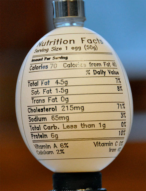 Egg-bot Nutrition Label from Thingiverse user dnewman