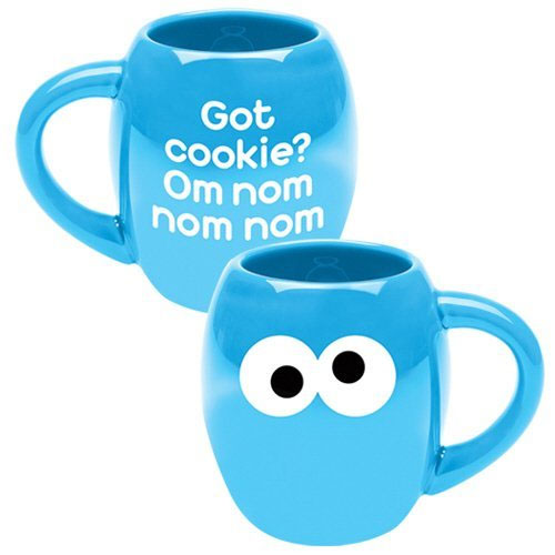Vandor 5-1/2 by 4 by 4-1/2-Inch Sesame Street Cookie Monster 18-Ounce Ceramic Mug, Multicolored