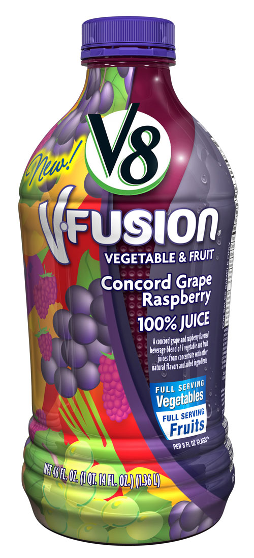Campbell Soup Company, the maker of V8(R) juices, will help make it even easier for people to increase their daily vegetable servings with the introduction of two new varieties of its V8 V-Fusion(R) vegetable and fruit juice: Concord Grape Raspberry and Concord Grape Raspberry Light