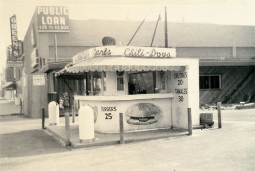 Carl's Jr., celebrating its 70th Anniversary, was founded with one hot dog cart on the corner of Florence and Central in Los Angeles on July 17, 1941. One of the earliest hot dog stands is pictured.