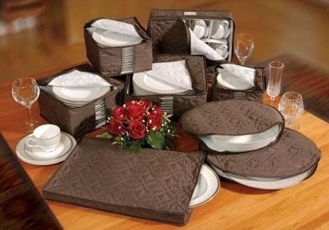 Dinnerware Storage 8 pc Set in Chocolate Brown Micro Fiber
