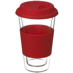 GROSCHE Glassen RED hand made double walled glass insulated travel coffee mug, 350 ml (12 fl oz)