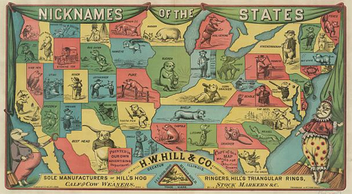 Nicknames of the States according to H.W. Hill & Co. Decatur Illinois sole manufacturer of Hill's hog ringers. Date Created/Published: c1884. Click on image to see a larger version.