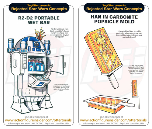 R2-D2 Portable Wet Bar and Han Solo In Carbonite Popsicle Mold