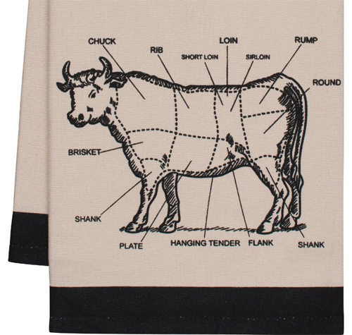 Gourmet Classics Chef's Cut Chart Cow Kitchen Towel, 20 by 30-Inch