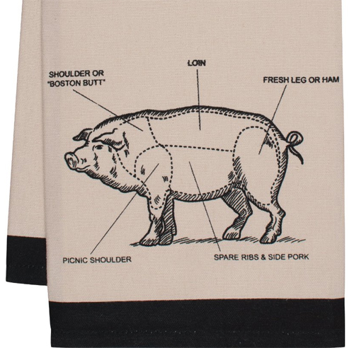 Gourmet Classics Chef's Cut Chart Pig Kitchen Towel, 20 by 30-Inch