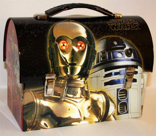 Star Wars R2-D2 C-3PO Tin Dome Lunch Box Workman Carry All Lunchbox