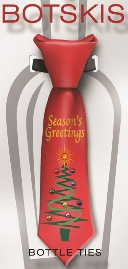 Botskis Season's Greetings / Christmas Tree Bottle Tie - Plays Jingle Bells & Blinking LED