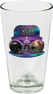 Superbowl 2013 Super Bowl XLVII 47 Baltimore Ravens vs San Francisco 49ers NFL Football Dueling Pint Glass