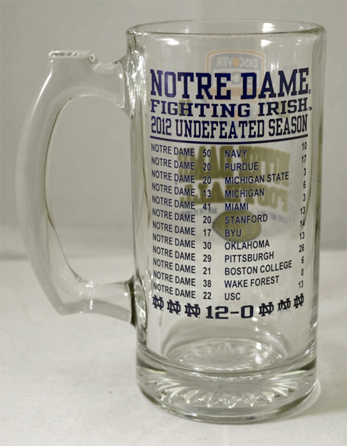 NCAA Notre Dame Undefeated Season Tankard BCS Championship Mug