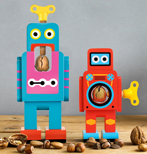 Suck UK Wooden Robot Nutcrackers, Large and Small