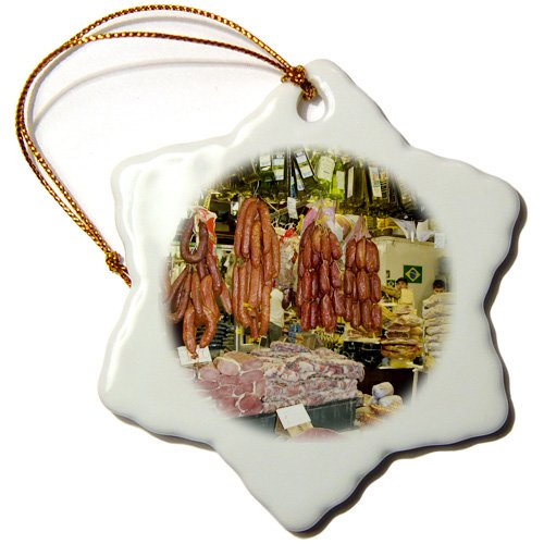 Porcelain Snowflake Ornament of cured meats in Mercado Municipal, Sao Paulo Brazil