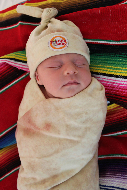 Tortilla Baby Swaddle Blanket & Knot Hat