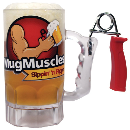 Mug Muscles Build Your Muscles Beer Mug with Hand Grip Exerciser Handle