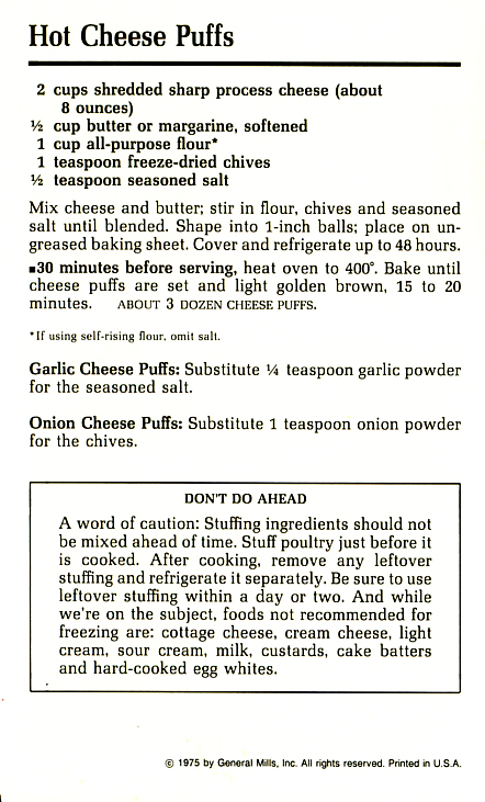 Hot Cheese Puffs Betty Crocker recipe card. Side two: Step-by-step process. File under: The Do-Aheads