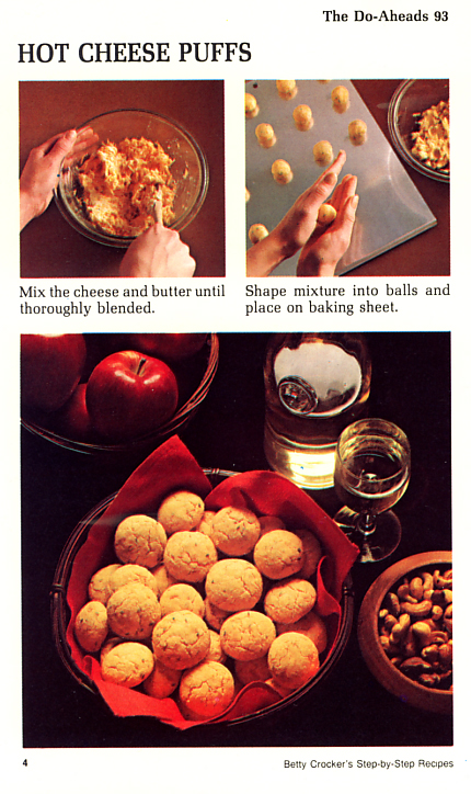 Hot Cheese Puffs Betty Crocker recipe card. File under: The Do-Aheads
