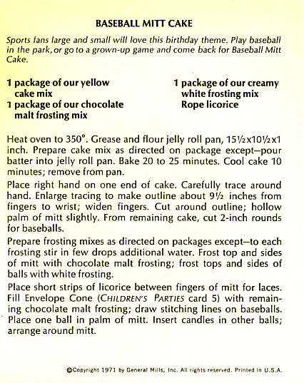 Have A Ball! Baseball Mitt Cake recipe card.
