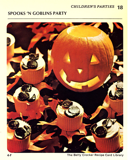 Spooks /n Goblins Halloween party recipe card from Betty Crocker circa 1971.