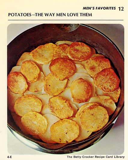 Potatoes, the way men love them according to 1971 GM recipe card.