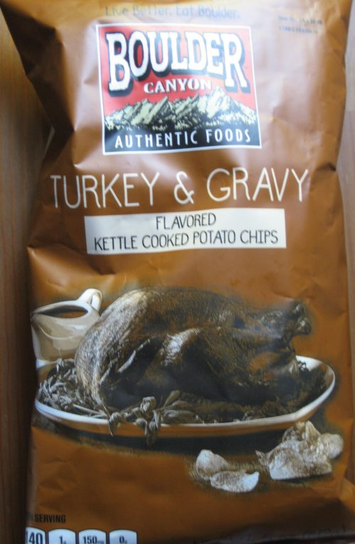 Turkey and Gravy Potato Chips packaging art by Boulder Authentic Foods